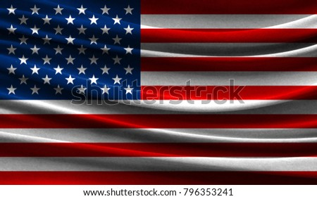 Realistic flag of America on the wavy surface of fabric