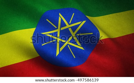 Realistic flag of Ethiopia waving with highly detailed fabric texture.