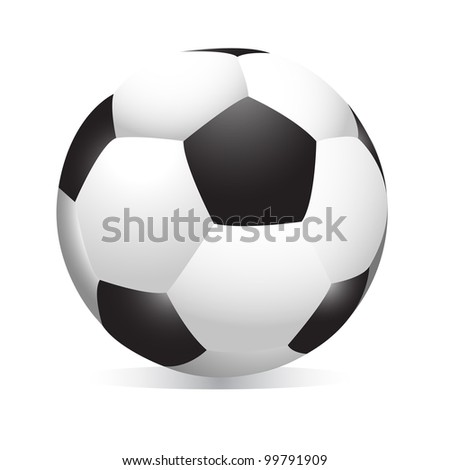 realistic football on white background