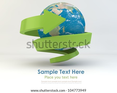Realistic globe with spiral green arrow for recycle and eco concept - stock photo