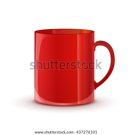 Realistic glossy red cup with shadow isolated on white