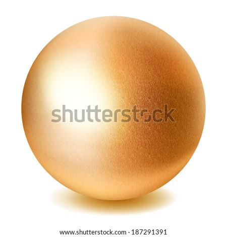 Realistic golden sphere with shadow on white background. Raster version. - stock photo