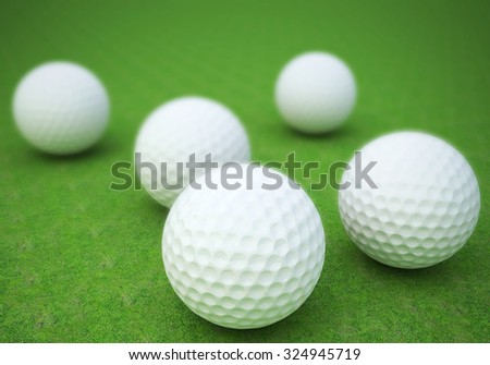 Realistic golf ball on course . - stock photo
