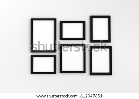 Realistic Group Blank Black Picture Frame Stock Illustration ...