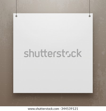 Realistic hanging Paper Sheet square Mockup. Editable Poster Template for Your Art, Banner, Gallery or other Content.