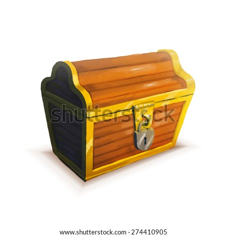 Realistic icon of treasure chest isolated on white - stock photo