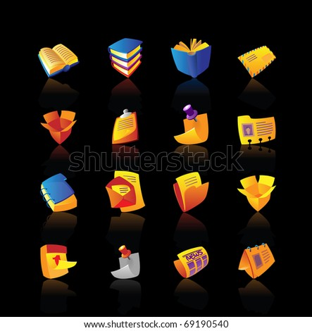 Realistic icon set for books, stationery and papers on black background. Raster version. Vector version is also available. - stock photo