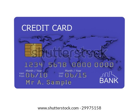 Realistic illustration of a blue credit card with fictional details, isolated on a white background. - stock photo