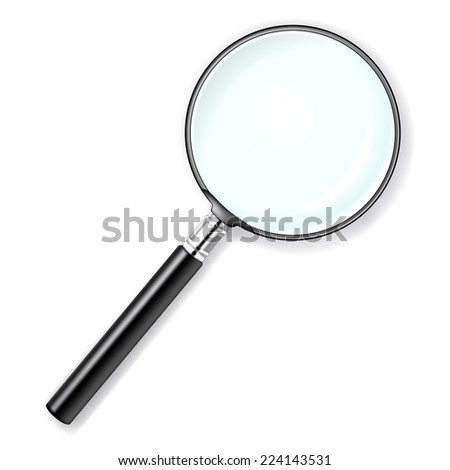 realistic illustration of a magnifying glass over white background  - stock photo