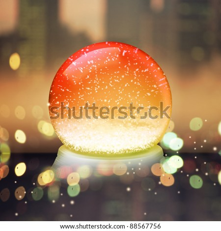 Realistic illustration of an empty snow-dome against a holiday background - customize by inserting your own object - stock photo