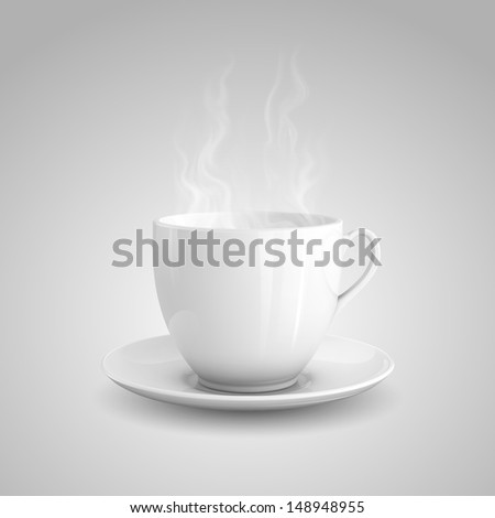 Realistic illustration of cup of hot drink on gray background. - stock photo