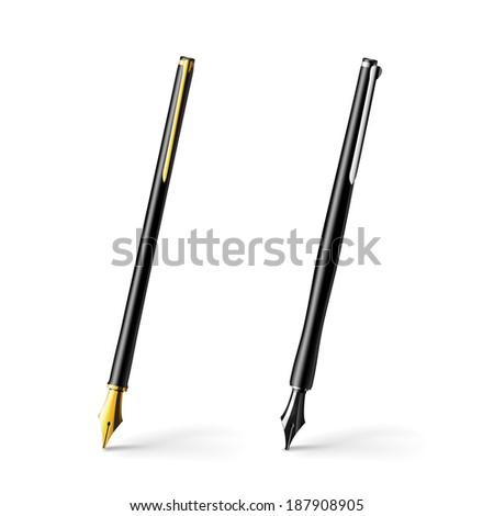 Realistic illustration of gold pen. Raster copy. - stock photo