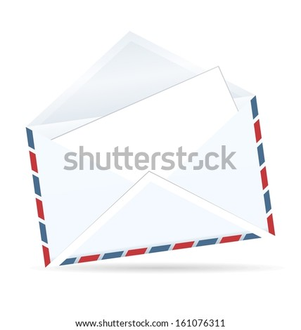 Realistic illustration of open envelope of post isolated on white background - raster