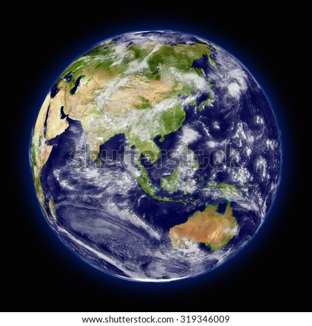Realistic illustration of planet Earth as seen from space facing Australia, Indonesia and southeast Asia region - stock photo
