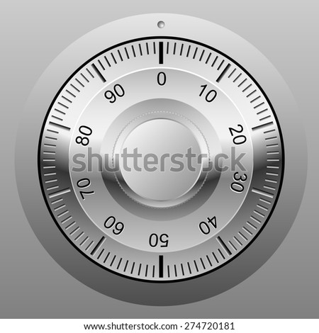 Realistic illustration of safe combination lock wheel. - stock photo