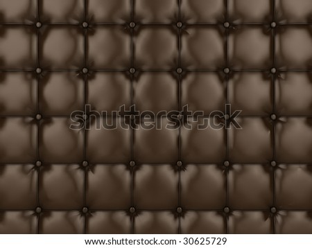 Realistic illustration of shiny brown buttoned leather. - stock photo