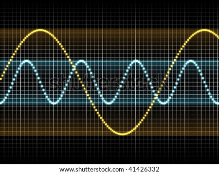 Realistic Illustration of Two Sound Waves - stock photo
