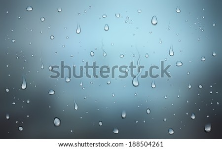 Realistic illustration of water drops on window - stock photo