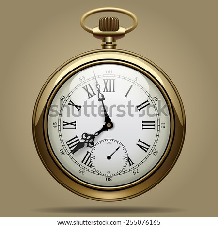 Realistic image of old vintage clock face. Retro pocket watch. Contain the Clipping Path - stock photo