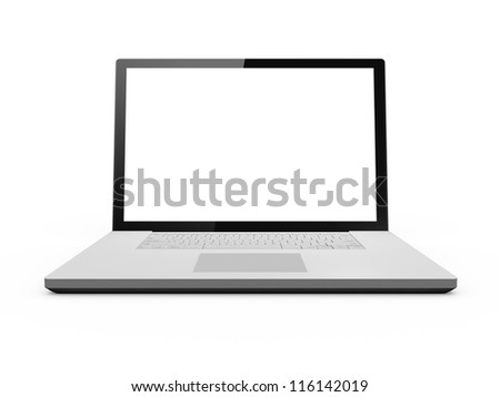 Realistic laptop and blank screen with black frame, isolated on white background. - stock photo