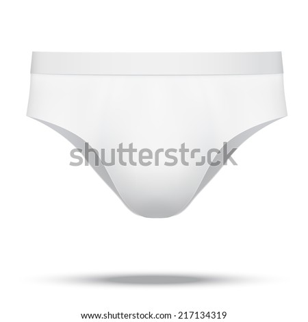 Realistic layout of Male white underpants brief. A template simple example. Illustration isolated on white background. - stock photo