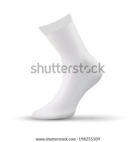 Realistic layout of white socks. A template simple example.  Isolated on white background. Bitmap copy.
