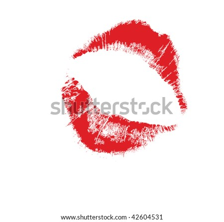 realistic lip mark, carefully transferred. Isolated on white. A vector is available.
