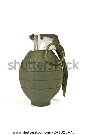 Realistic looking hand grenade made of plastic - stock photo