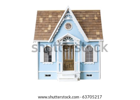Realistic looking wooden dollhouse isolated on white with clipping path - stock photo