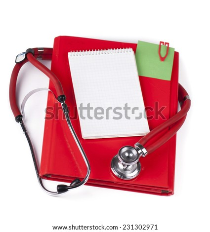 Realistic medical health service stethoscope and clipboard for notes - stock photo
