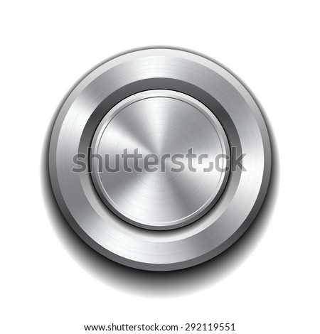Realistic metal button with circular processing.  - stock photo