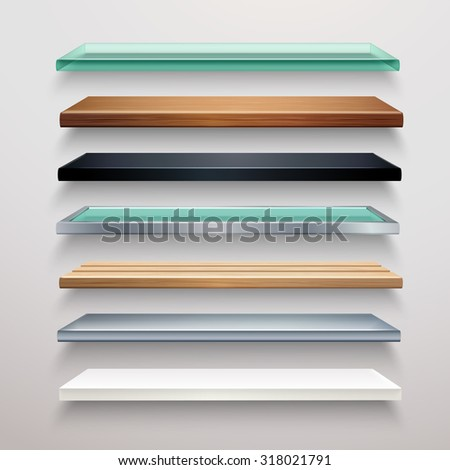 Realistic metal glass wood and plastic bookstore shelves set isolated  illustration - stock photo