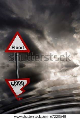 Realistic metallic, reflective flood warning sign against stormy sky