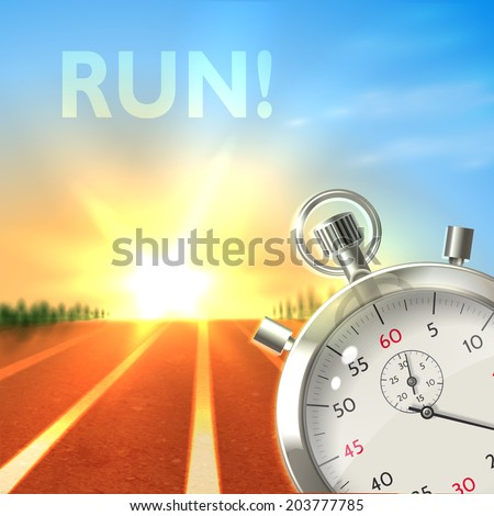 Realistic metallic stopwatch and running track sport poster illustration