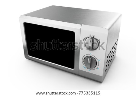 realistic microwave oven on isolated, kitchen object 3d illustration