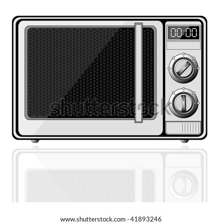Realistic microwave with reflection isolated on white