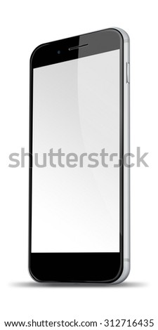 Realistic mobile phone iphon style mockup with blank screen and shadows isolated on white background. Highly detailed illustration.