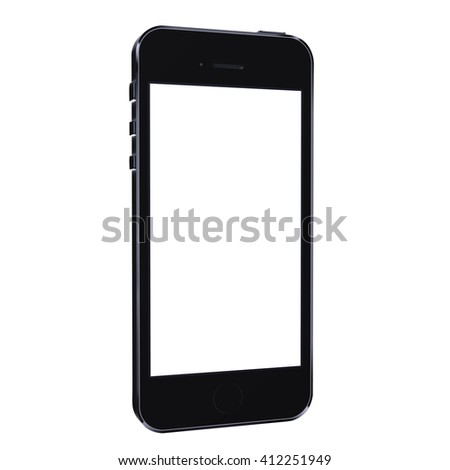 Realistic mobile phone smartphone mockup iphon style with blank screen isolated on white background - stock photo