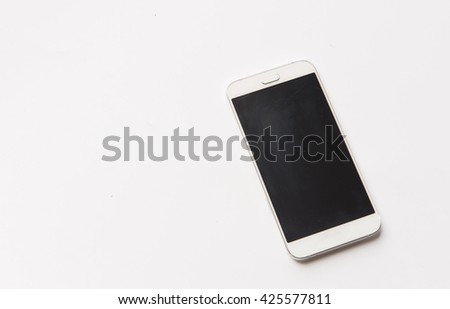 Realistic mobile phone touch screen phone in iphone style with black screen with  isolate on white background. - stock photo