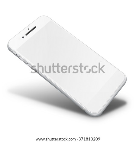 Realistic mobile phone touch screen smartphone in iphon style with blank screen with shadows isolated on white background.  - stock photo