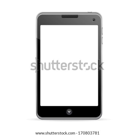 Realistic mobile phone with blank screen - stock photo
