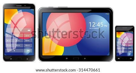 realistic mobile tablets, phone and smartphone on a white background