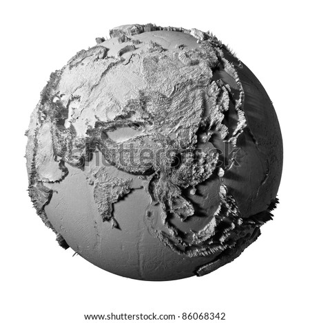 Realistic model of planet earth isolated on white background - asia, 3d illustration - stock photo