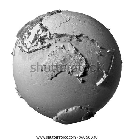 Realistic model of planet earth isolated on white background - australia, 3d illustration - stock photo