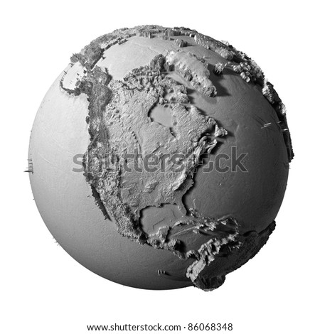 Realistic model of planet earth isolated on white background - north america, 3d illustration - stock photo