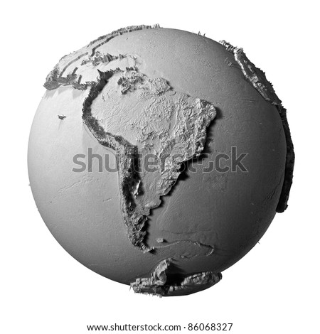 Realistic model of planet earth isolated on white background - south america, 3d illustration - stock photo