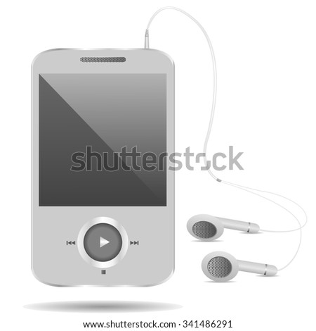 Realistic mp3 player on the white background. Raster illustration - stock photo