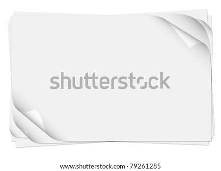 Realistic multiple curled page corners - stock photo