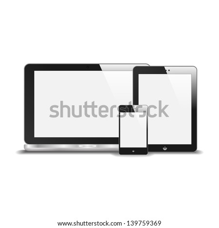 Realistic Notebook, Smart Phone And Tablet PC With Blank Screen. With Reflection. Isolated On White Background. Raster Version - stock photo