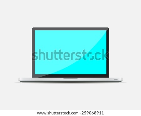 Realistic Open Laptop with blue blank screen isolated on white background.  illustration